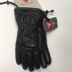 🆕 OBERMEYER Women's Black Leather Winter Gloves